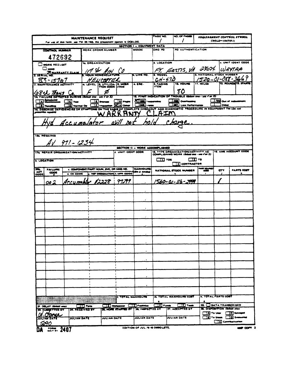 Figure 4. Sample of a Completed D A Form 2407 for Warranty Claim ...