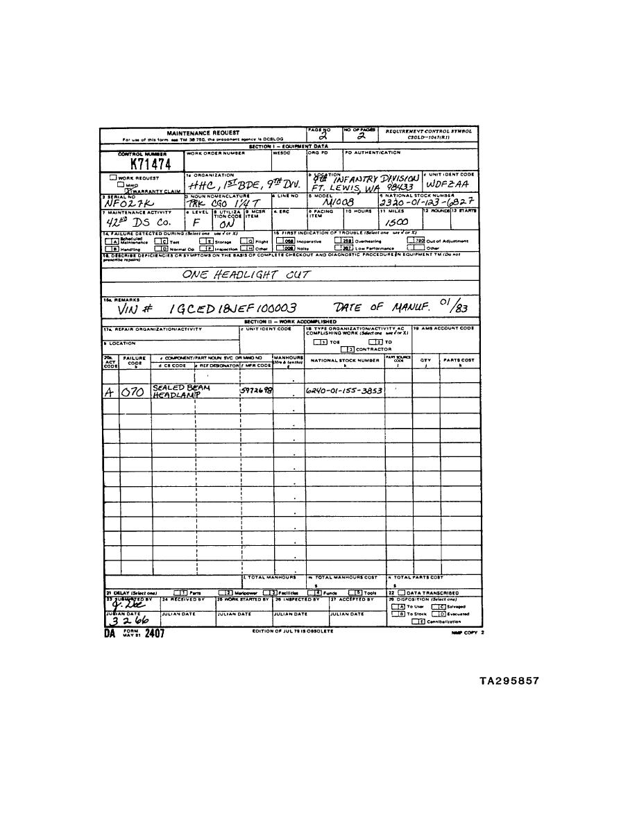 FIGURE 1 DA Form 2407 (Maintenance Request) (2 of 2) (Example ...